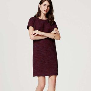 LOFT Spacedye Cranberry Navy Shift Pullover Dress